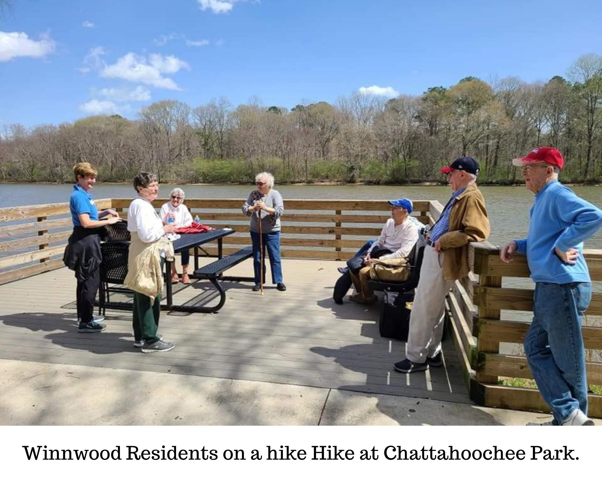 Winnwood Residents on a hike Hike at Chattahoochee Park.